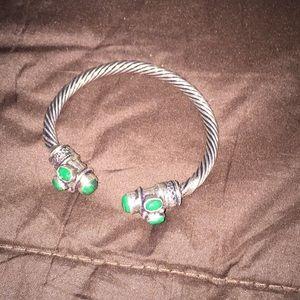 Jewelry - Silver and Malachite cuff bracelet